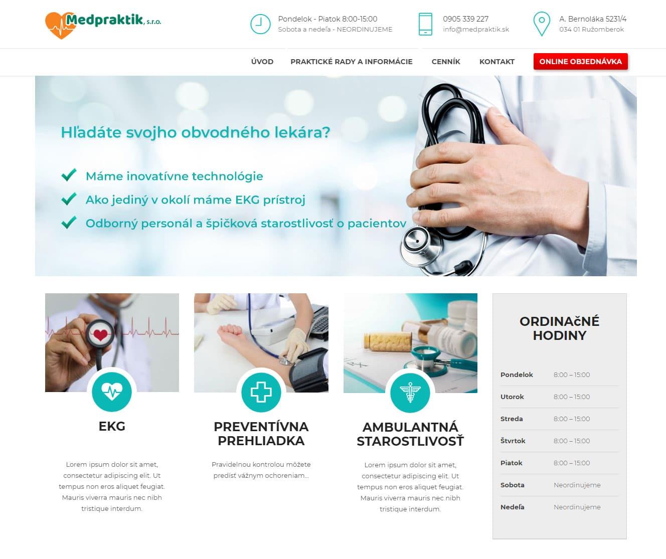 Tvorba web stránok, tvorba eshopu, SEO optimalizácia - www.medpraktik.sk