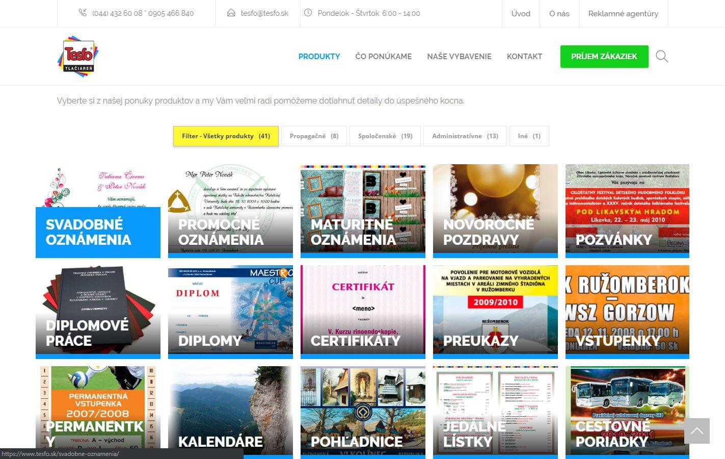 Tvorba web stránok, tvorba eshopu, SEO optimalizácia - www.tesfo.sk